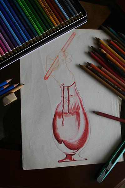 Dibujo de una mano sobre una copa de sangre y un lápiz