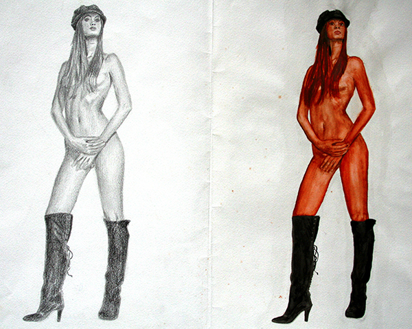 Mujer desnuda con botas y gorra