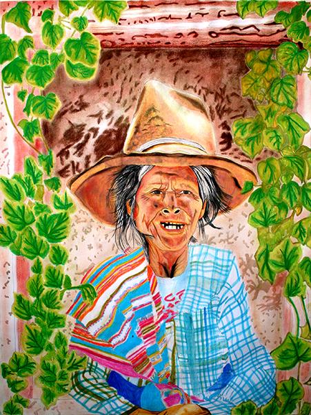 Ilustración de una Abuela de los Andes del Perú