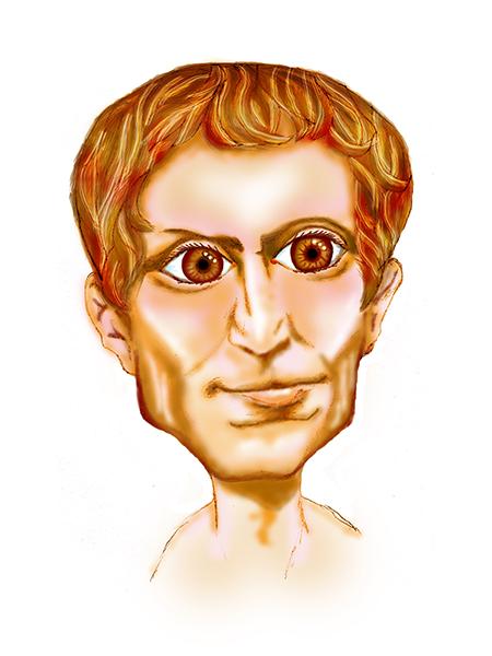 Caricatura de Julio César, líder militar y político romano