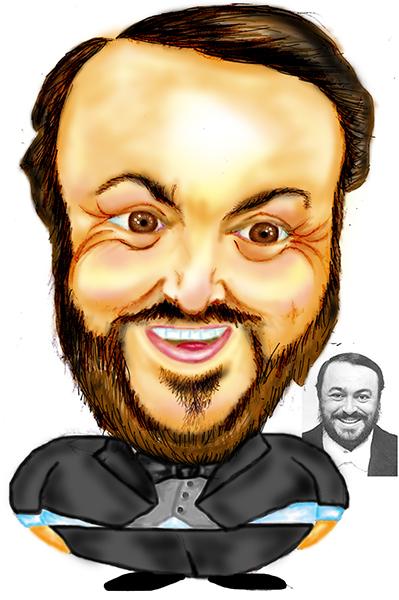 Caricatura de Luciano Pavarotti